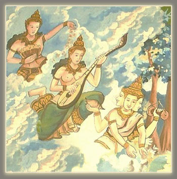 Gandharvas Himmels-sänger...musiker und Apsaras Himmelsmädchen