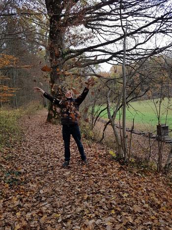 Ich werfe Blätter hoch auf einem Waldweg