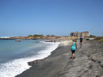Exploring one of the beaches in the north of Maio