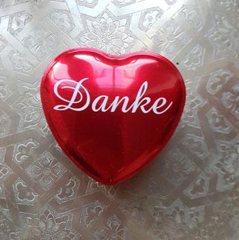 """Herz mit der Aufschrift """"Danke"""" - fotografiert von Eva Wlodarek"""