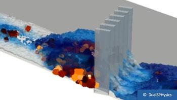 Coupled DEM-CFD modelling of a debris flow surge using DualSPHysics