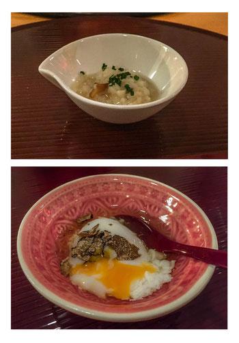 Japanisches Risotto mit Herbstpilzen und Reiskuchen sowie Hyotei-Ei mit Trüffelöl.