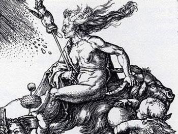 Rückwärts reitende Hexe auf einem Ziegenbock (Albrecht Dürer, Kupferstich, ca. 1500) (Kupferstich von Albrecht Dürer | Wikimedia | gemeinfrei)