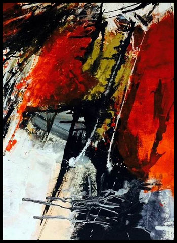 "WVZ 01/2017 / ""Angetrieben"" / Acryl auf Leinwand / Format 100 x 80 cm / verkauft"