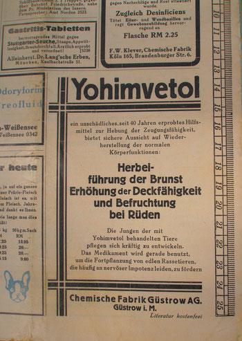 """Werbung für Yohimventol in """"der Hund"""" vom 30. Oktober 1933"""