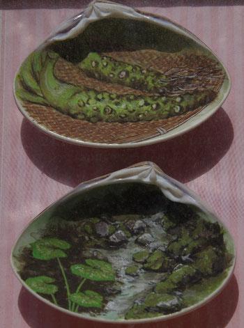 清流日本一の象徴 鴨島ハマグリを使ったアート
