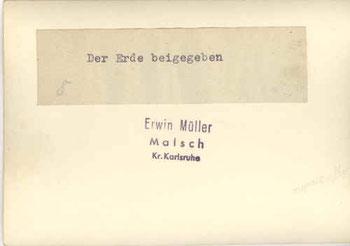 Rückseite eines Fotos mit dem Stempe des Fotografen Erwin Müller