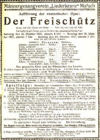 Programm Frieschütz am 15. und 16. Okober 1927