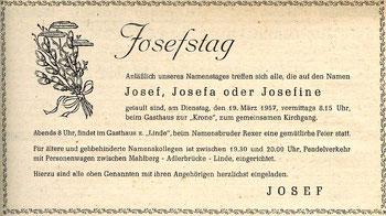 Josefstag 1957 - Treffen in der Linde - GA 1957