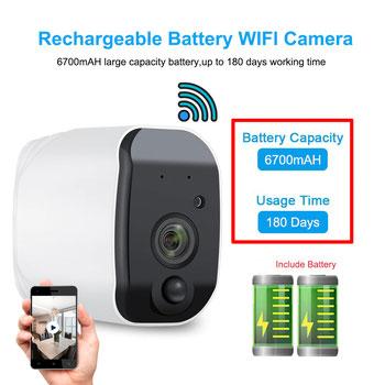 CLD24 -  Cámara inalámbrica WiFi con batería recargable,