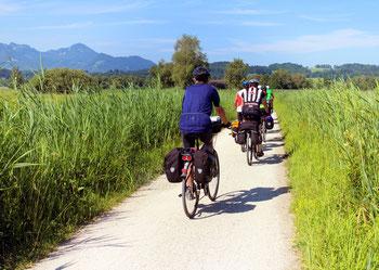 Ansicht Radfahrer im Kaiserstuhl Tuniberg unterwegs