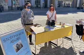 Am Samstag verteilt die Bürgerstiftung wieder Stoffmasken gegen eine Spende. Foto: P. Fuhrmann