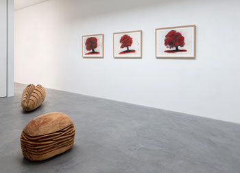 "Blick in die Ausstellung ""David Nash"" u.a. mit Red Tree 2012. Foto: Andreas Pauly"