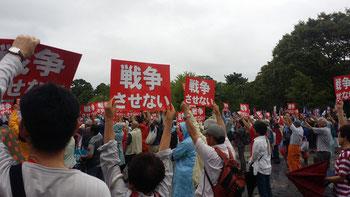 雨の駿府城公園にたくさんの人が