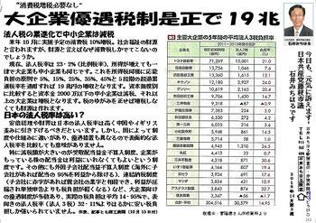 消費税増税になり替わる財源の一例のビラ(NO264)