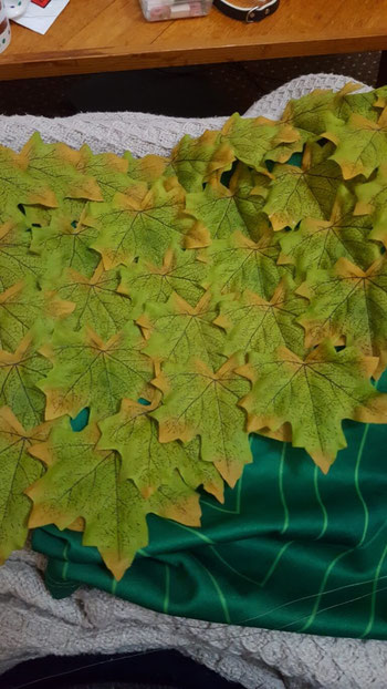 So many leaves to sew on!