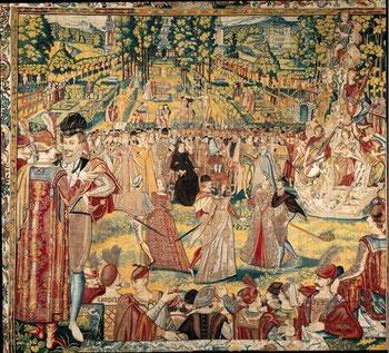 Tapisserie des Valois. Fête du 14 septembre. Jardin des Tuileries. Catherine est au centre.Palais des Offices à Florence
