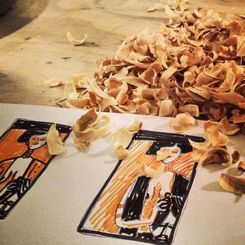 Farbskizze Judith, Zeichnung mit Tusche auf Papier von Frank Schulz Art, zeigt einen Holzschnitt von Judith nach Gustav Klimt, Work in progress