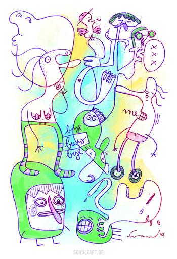 Verrückte Figuren springen herum vor grün-gelbem Hintergrund, gezeichnet mit Procreate von Illustrator Frank Schulz