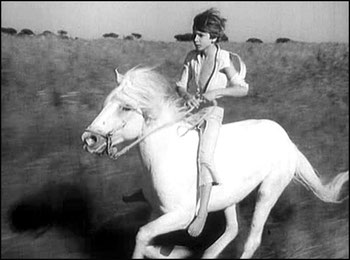 Alain Emery 11 ans galopant sur Crin Blanc - Crin-blanc, film d'Albert Lamorisse, 1953