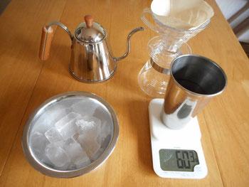 ドリップセット・コーヒー豆・氷・お湯