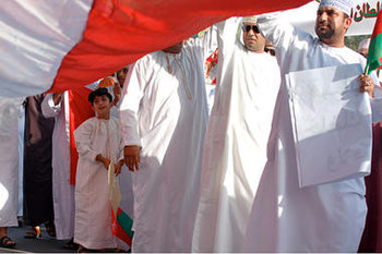 Thousands of Omanis of all ages attend a rally earlier this month in support of their leader of 40 years, Sultan Qaboos bin Said al-Said, in Muscat, Oman.        Jackie Spinne