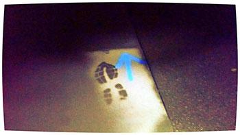Welch eine interessante Seltenheit, dieser feuchte Schuhabdruck war fast identisch wie mein Profil-Logobild aussehend.