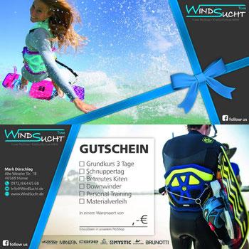 WindSucht Gutscheine, Gutscheine von WindSucht, Gutschein für das Kitesurfen, Gutscheine verschenken, Surf Gutscheine