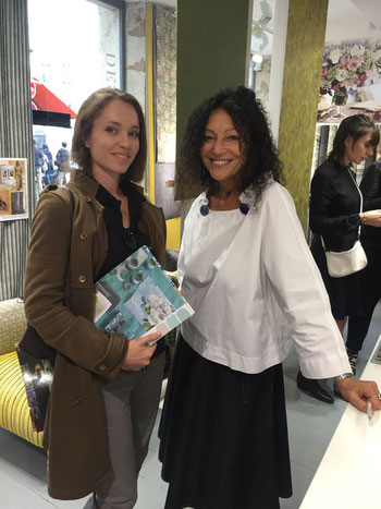 Juliette d'Ecoute-Bergère et Tricia Guild de Designers Guild à la sortie du livre Le Nuancier