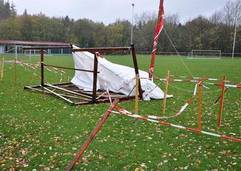 Der vom Sturm zerstörte Zieleinlauf