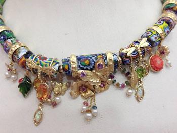 collana di murrine con perline ametiste coralli citrini opali tormaline