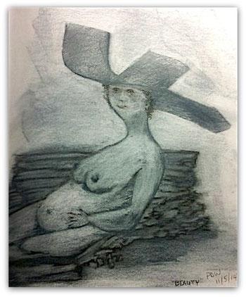 """""""Beauty"""" Sketch by Pam Waller"""