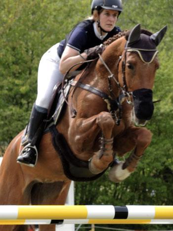 Pferd und Reiterin springen über ein Hindernis