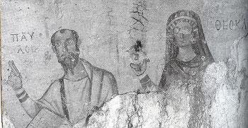 Affresco raffigura Paolo di Tarso con la sua discepola Tecla