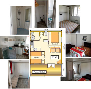 photo montage Chalet Gascogne Camping Gers Arros