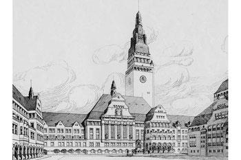 Abb. 2 - Rathaus-Entwurf von Herrmann Billing