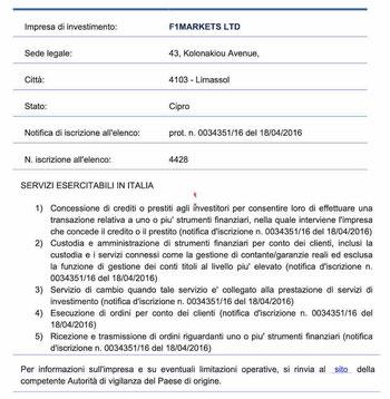 investous consob italia autorizzazione regolamentazione licenza