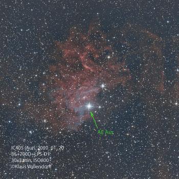 "IC405 im Sternbild Aurigae (Fuhrmann) mit 8"" f3.6, CANON 700D mod +LPS-D1"