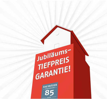 Schnelligkeit zählt: Die ersten 85 komplett vorliegenden Hausbauverträge werden bei Heinz von Heiden bis zum 31. März 2016 mit den Jubiläums-Tiefpreisen belohnt.