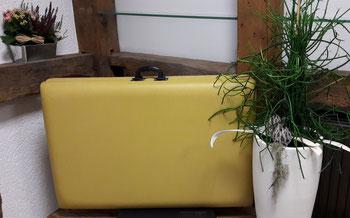 Auf dem Bild sieht man eine mobile Therapieliege welche neben einer Blume dekoriert ist. Diese Liege wird für Hausbesuche benötigt.