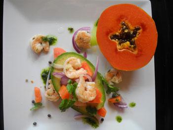 Papaya and shrimp cocktail in avocado