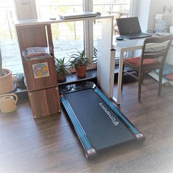 Schreibtisch mit Laufband aka treadmill desk