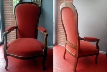 marylinegrac- tapissier d'ameublement-Fauteuil Voltaire. Rénovation complète. Assise et dossier en mousse. Double corde.
