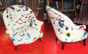 marylinegrac- tapissier d'ameublement-Fauteuils CRAOAUD. Rénovation complète.