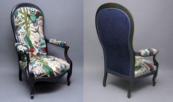 marylinegrac- tapissier d'ameublement-Fauteuil VOLTAIRE. Rénovation complète. Méthode traditionnelle. Crin végétal et crin animal