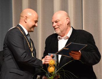 Ettlingens OB Johannes Arnold und Thomas Riedel