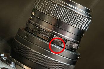 Detailfoto Blendenring und Mitnehmer, KIWI-Adapter M42-NikonZ mit Fujinon an Nikon Z. Foto: bonnescape