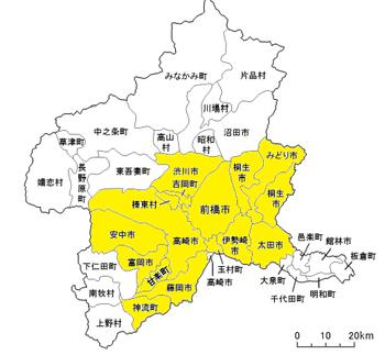 対応エリア地図、主に群馬県南部、高崎、前橋、伊勢崎、藤岡、玉村町、甘楽、富岡、太田市などのエリアに対応しております。