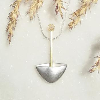 Schmuckanhänger Silber Gold rund mit Stein Opal