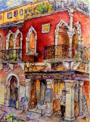 ベネチアのトラットリア F4 油彩